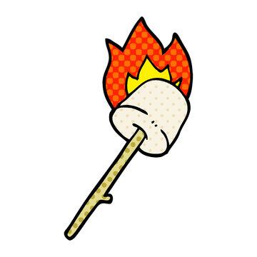cartoon doodle marshmallow on stick