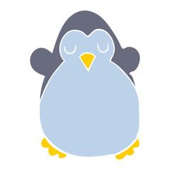 flat color style cartoon penguin
