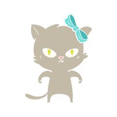 cute flat color style cartoon cat