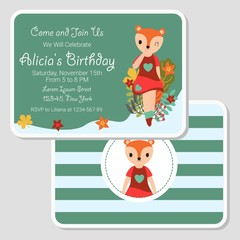 Vector cartoon illustration with cute fox girl walks on the garden suitable for birthday card design, Invitation card, and greeting card