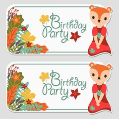 Vector cartoon illustration with cute fox girl and autumn floral suitable for birthday label design, banner set and invitation card