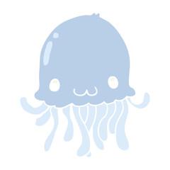 flat color style cartoon jellyfish