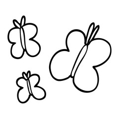line drawing cartoon butterflies