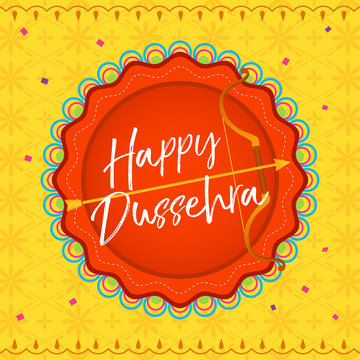 Happy Dussehra Vector illustration, Bow and arrow on yellow pattern background.