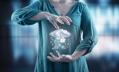 Young girl using virtual screen