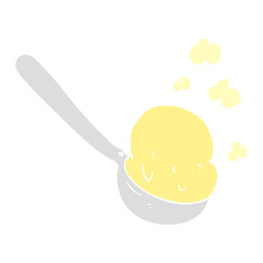 flat color illustration of a cartoon scoop of ice cream