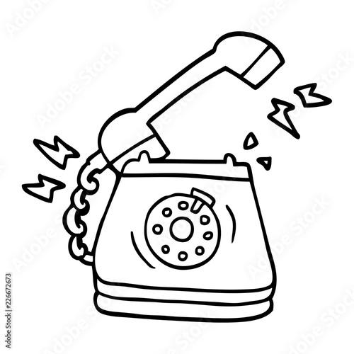 line drawing cartoon ringing telephone