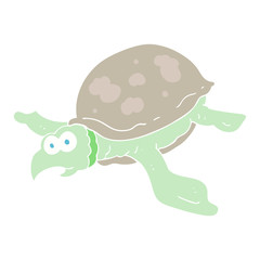 flat color illustration of a cartoon turtle
