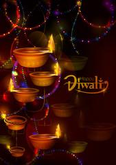 Happy Diwali light festival of India greeting background