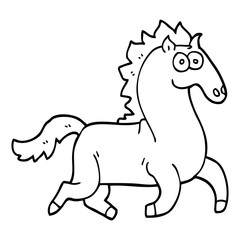 line drawing cartoon magnificent stallion