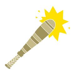 flat color style cartoon baseball bat hitting