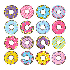 Set of color donuts isolated on white