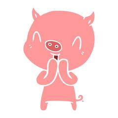 happy flat color style cartoon pig