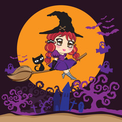 Witch flying with black cat on a broomstick over the moon. Dark background.