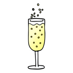 cartoon doodle champagne flute