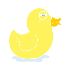 flat color illustration of a cartoon rubber duck