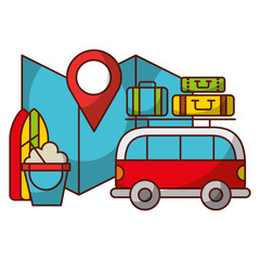 travel vacations van map luggage and surfboard