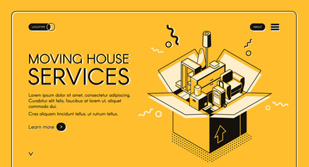 Moving house services vector web banner with home furniture in cardboard box isometric line art illustration on yellow background. Small transport company or door-to-door removals startup landing page