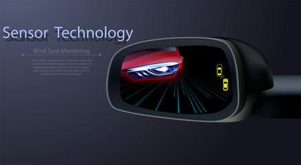 Blind Spot Monitoring Area Zone System Mirror Car Vehicle Side View Alert Warning Avoid Prevent Crash Detection Object Ultrasonic Radar Camera Sensor Technology Automotive