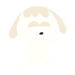 flat color style cartoon bored dog