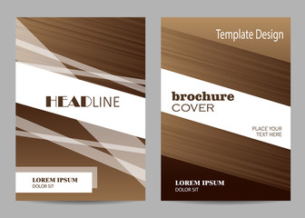 Brochure template layout design. Abstract brown and white striped background.