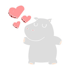 flat color style cartoon hippo in love
