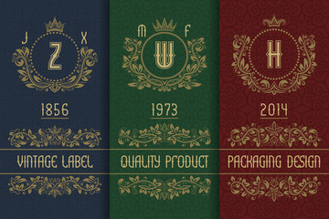 Vintage packaging design with royal monograms. Set of labels templates for quality product.