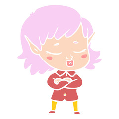 pretty flat color style cartoon elf girl