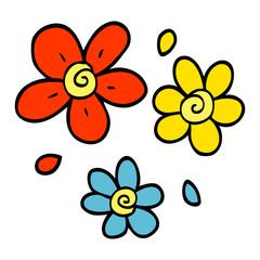 cartoon doodle decorative flowers