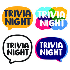 Trivia night. Set of lettering hand drawn badges. Vector illustration on white background.