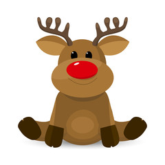 Cute little reindeer. Little deer with a red nose on a white background