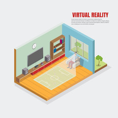 virtual football illustration, football results, the guy sitting in the chair looks through the VR online sport.