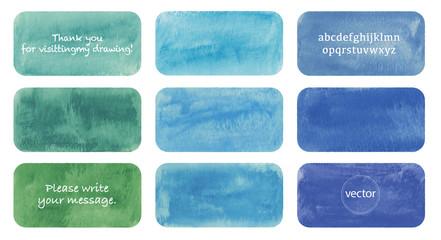 Fototapeta Blue watercolor rectangle set, vector obraz