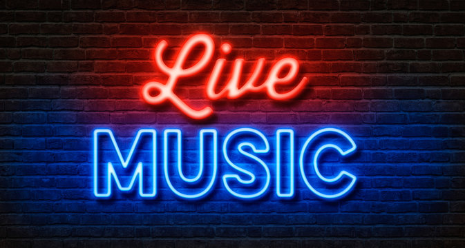 Neon sign on a brick wall - Live Music