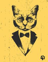 Portrait of Cat in suit, hand-drawn illustration, vector