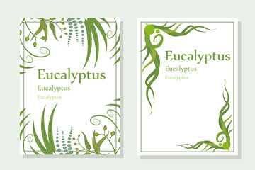 hand drawn eucalyptus flower, eucalyptus leaves, green leaves, medical plant, eucalyptus tree for logotype, flyer, posters, card, label, badge, banner, design with medical plant, useful plant