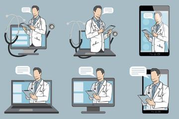 online medical doctor, online consultation and support, mobile medicine emblem, icon, symbol, illustration, vector, online doctor, medical concept, internet health service, vector graphics to design