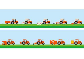 農業用トラクターと農作業