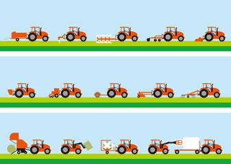 農業用トラクターと牧草栽培