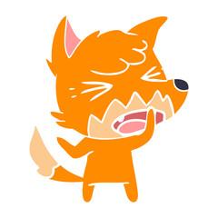 angry flat color style cartoon fox