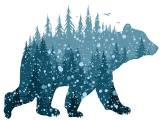 Bear with winter forest.