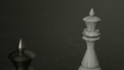 3D Chess queen on dark background. 3D Rendering. Cinematic Lighting.