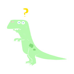 flat color illustration of a cartoon confused dinosaur