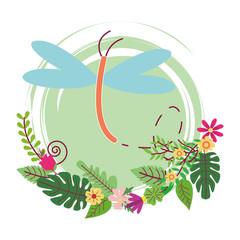 dragonfly cute cartoon round icon