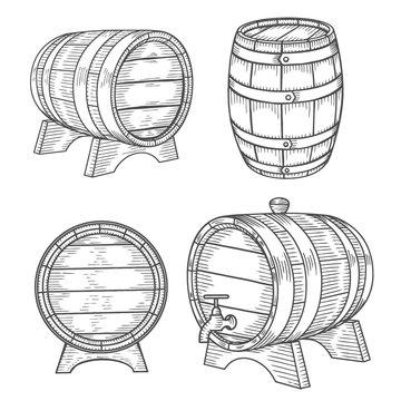 Wooden barrel set.