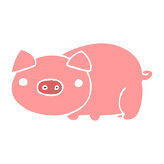 flat color style cartoon pig