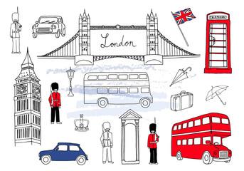 Vector illustration. London landmarks. London city elements collection. Hand drawn set with bridge, Big Ben, red bus, cars, royal guards, cab, streetlight, suitcase and umbrella. UK flag.