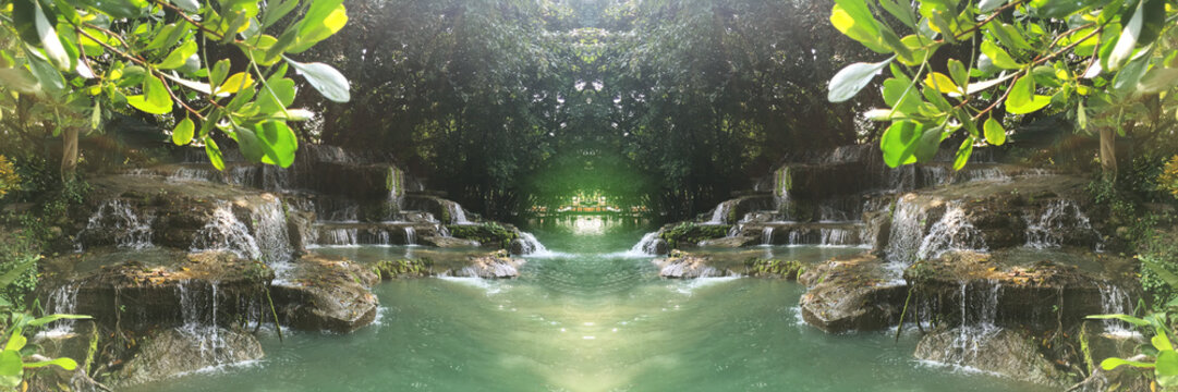 Super of waterfall on green nature background and tunnel of light