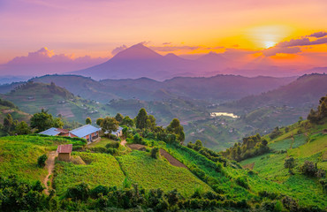 Zelfklevend Fotobehang Lichtroze Kisoro Uganda beautiful sunset over mountains and hills of pastures and farms in villages of Uganda. Amazing colorful sky and incredible landscape to travel and admire the beauty of nature in Africa