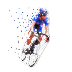 Road cycling, cyclist in blue jersey, polygonal vector illustration. Low poly bicycle rider